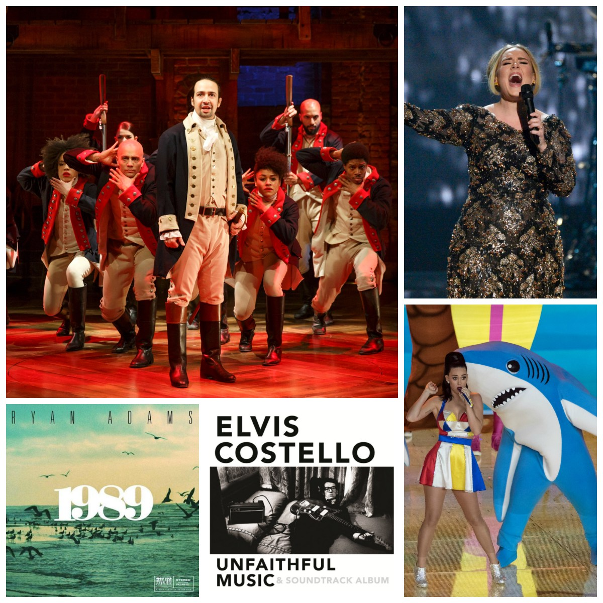 """Notable music highlights from 2015 included the hip-hop """"Hamilton;"""" Adele's omnipresent """"Hello;"""" Katy Perry's sharks; Elvis Costello's book soundtrack (not to mention the book); and Ryan Adams morphing into Taylor Swift. Photos: Joan Marcus/The Public Theater; Virginia Sherwood/NBC; Wikimedia Commons; Courtesy Photos."""