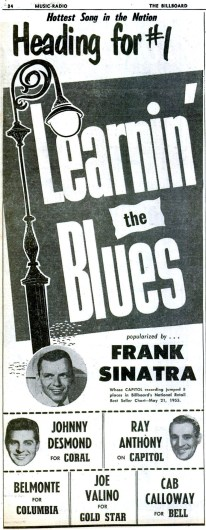 "Frank Sinatra, ""Learnin' the Blues"" promo from Billboard - June 4, 1955"