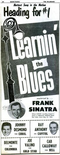 """Frank Sinatra, """"Learnin' the Blues"""" promo from Billboard - June 4, 1955"""