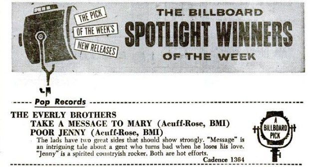"""Billboard magazine review of """"Take a Message to Mary"""" and """"Poor Jenny"""" - March 1959"""
