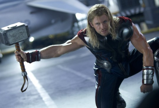 Thor grabs his hammer Mjolnir on the deck of the helicarrier in The Avengers