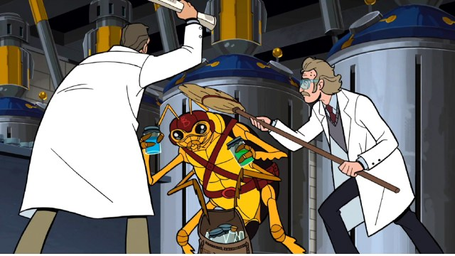 Science produces strange outcomes in a scene from season 5 of The Venture Bros.