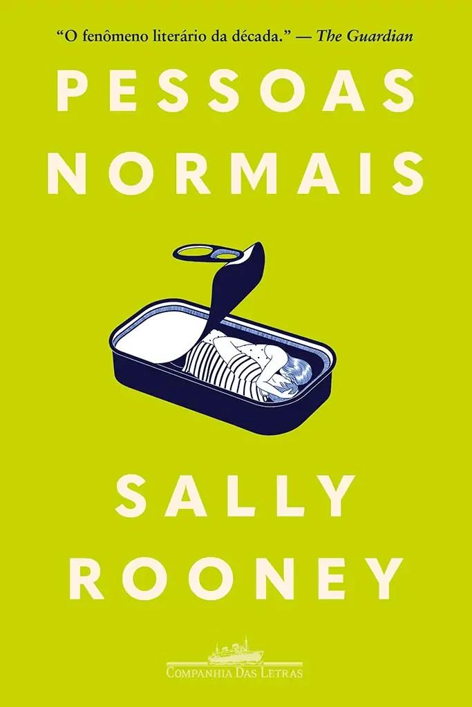 Capa do livro Pessoas Normais, traz um fundo verde limão onde se lê o título e o nome da autora em branco nas extremidades. No centro vemos uma lata de sardinha aberta com duas pessoas abraçando-se dentro dela.