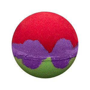 "Round bath bomb. The top is a vivid red color, the bottom is a bright green. Between the two colors is a band of purple with seashell like shapes that make up Ariel's ""Bra"""