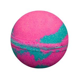 Round bath bomb with alternating swirls of bubble gum pink and blue.