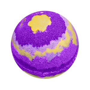Round bath bomb made of three different shades of purple. Yellow is added intermittently to resemble starlight. There is a round yellow spot at the top that resembles a star shaped flower.
