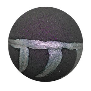 Round bath bomb. It is black, filled with dark purple glitter. Around the middle is painted shimmery silver with cat 'claw' like markings, resembling T'Challa's necklace.