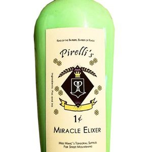 "Bottle with a bright green, thick body wash inside. The label is an eggshell color. The top text says ""King of the Barbers, Barber of Kings"" followed by the name ""Pirelli's"" in fancy script. Two flowers on each side of the name. Below the name is a purple diamond with two fancy P's back to back inside a black and white crest with a yellow crown atop it. Two more flowers are on each side. A blank banner scrolls underneath, a flower on each side. 1 Cent shows beneath that, followed under that with ""Miracle Elixir"". Beneath that says ""Miss Mimic's Tonsorial Supplies For Street Mountbacks"". ""Ingredients"" on the side state that it's made of Piss and Ink."