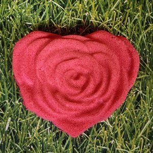 A rose bath bomb - the petals are an open bloom in the shape of a heart