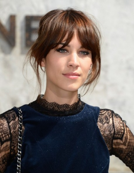 2014 Alexa Chung Hairstyles: Updo Hair Style
