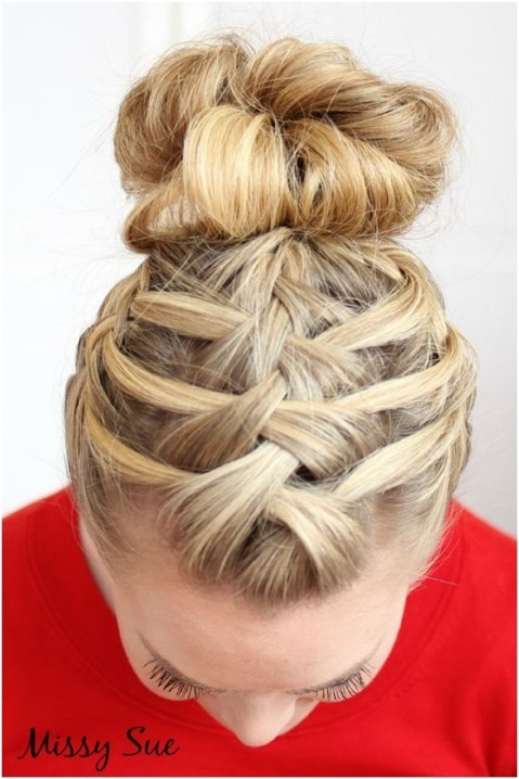 Triple French Braid Double Waterfall: Updo Hairstyles