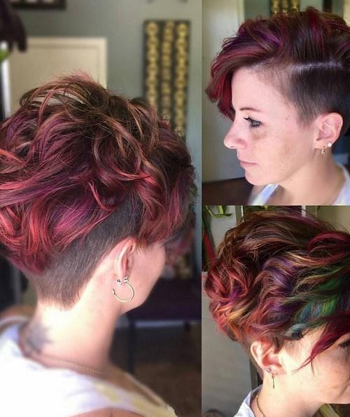 Shaved Haircuts with Short Wavy Hair - Balayaged Short Hairstyle