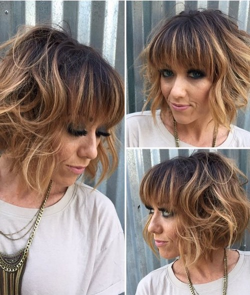 Perfect Shaped Curly Bob for Thick Hair - Short Hairstyles with Bangs