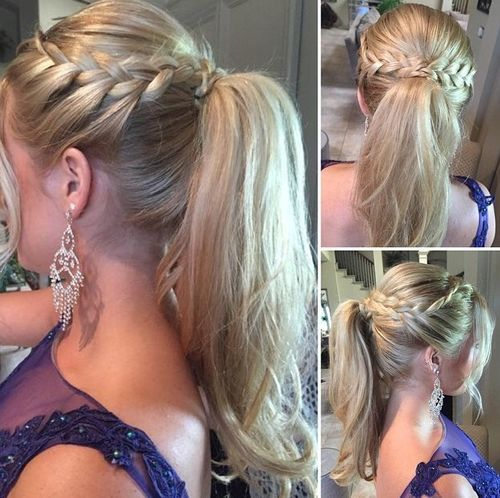 19 Pretty French Braid Ponytail Ideas  Summer Hairstyles for 2017 Wrap Around French Braid  High Ponytail with Side Braids
