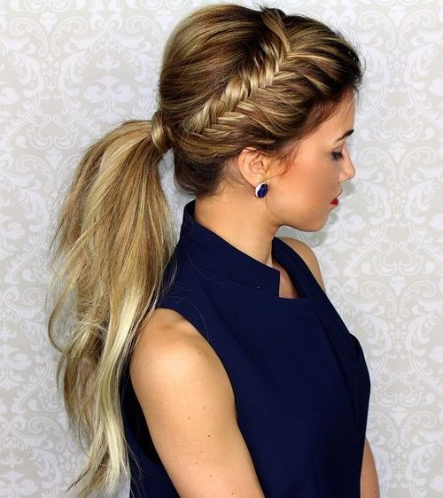 Ponytail with Side Braid
