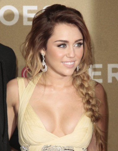 Miley Cyrus Long Braided Hairstyles 2012