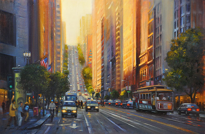 Driving Up California Street (SF), 24x36
