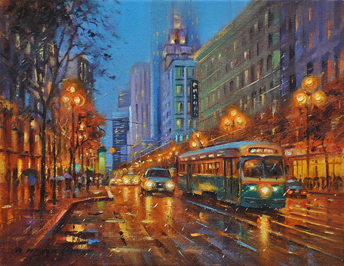 Evening at Market Street, 11x14 (SOLD)