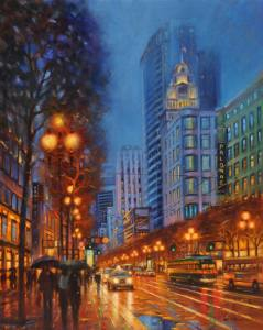 "Night Lights On Market St, 30""x24"""