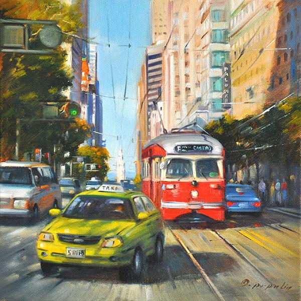 Rush Hour (Market Street, SF), 12x12