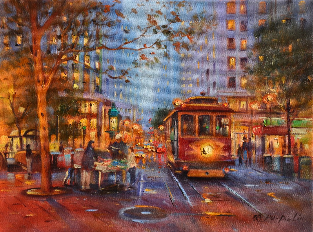 Street in the Evening (SF), 9x12
