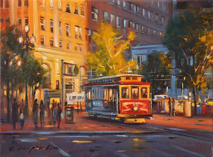 Evening Lights (SF), 9x12