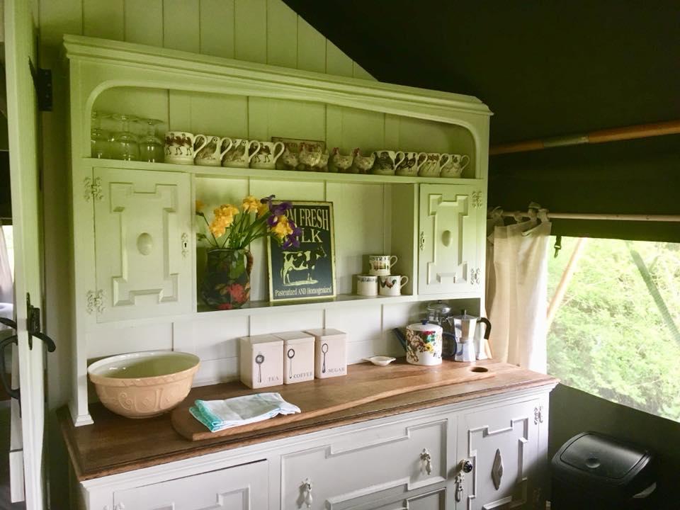 the kitchen at the dandelion hideaway safari tent