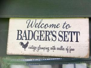Badgers Sett sign for our safari tent at the dandelion hideaway