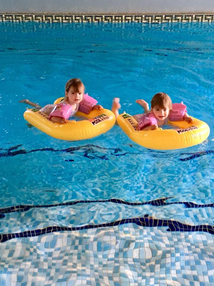Indoor Swimming Pool at Greenwood Grange with twins swimming and jumping in with daddy