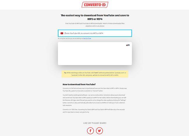 Screenshot der Webseite Converto.io