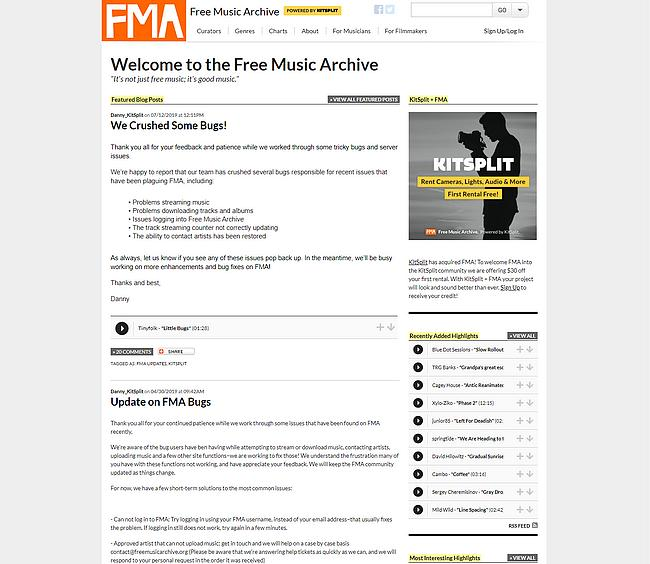 Free Music Archive Webseite