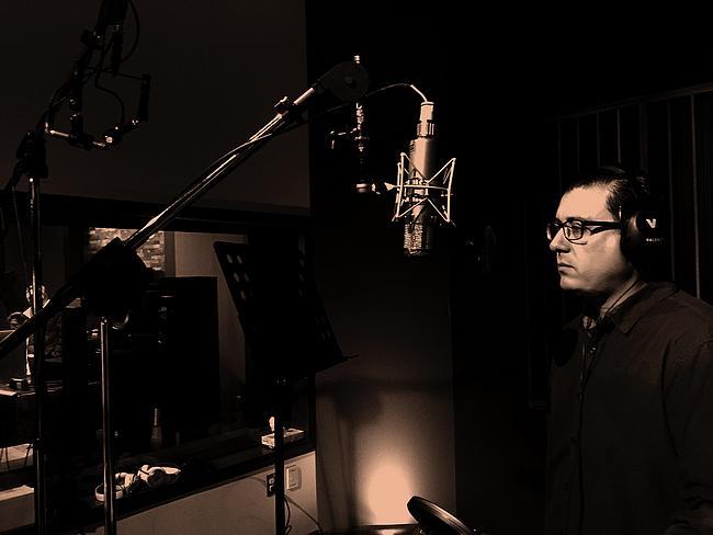 Sänger im Tonstudio