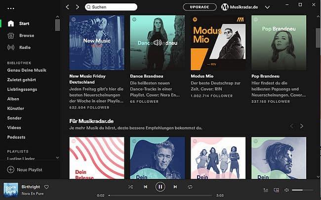 Spotify Oberfläche