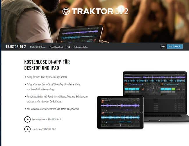 Screenshot Traktor DJ2 Webseite