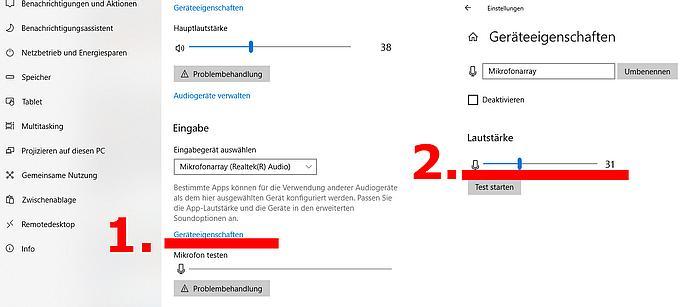 Windows 10 Mikrofoneinstellung