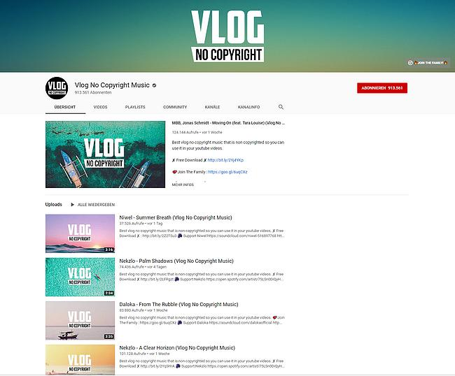 YouTube -Vlog No Copyright Music Channel