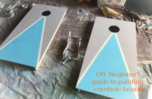 How to custom paint your own cornhole game! Easy steps to decorate your cornhole game for fun at parties, events, fundraisers or backyard play! #cornhole #howto #DIY   Poplolly Co