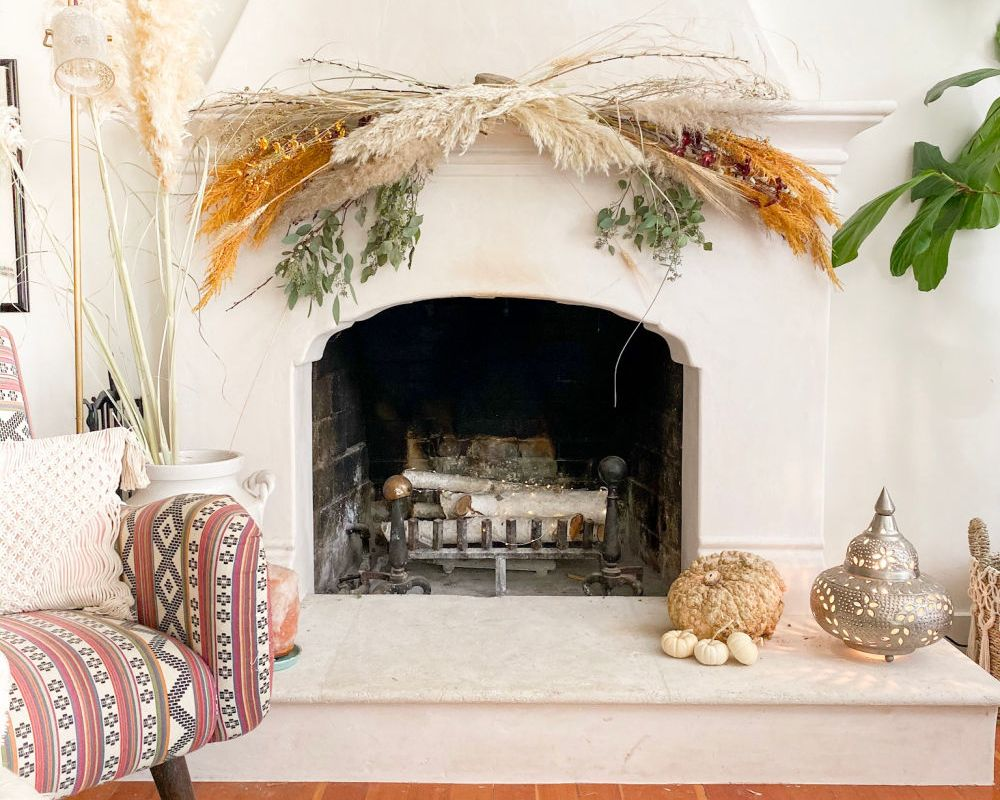 fall mantle decor | DIY | Pampas grass decor | Poplolly co