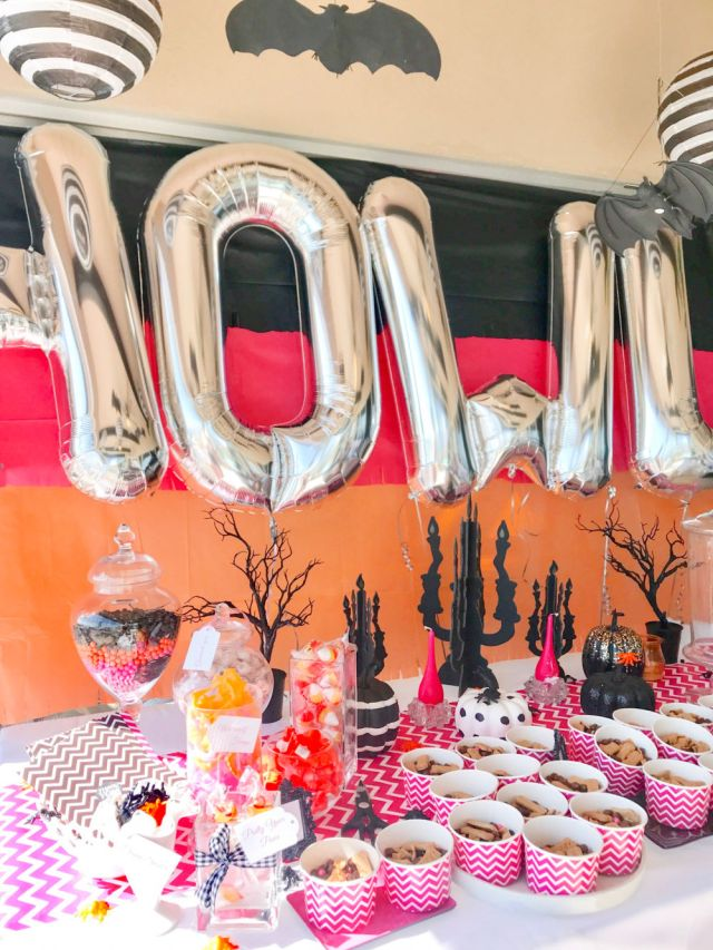 girls howlin halloween party ideas pink orange modern | Poplolly co