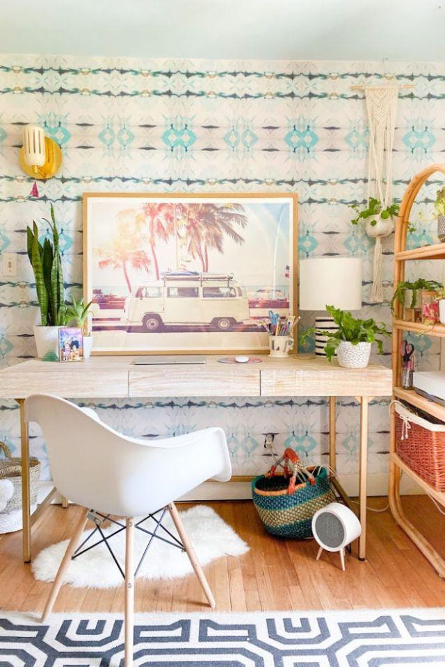 California Beach Home Office surf shack decor shibori wallpaper | Poplolly co