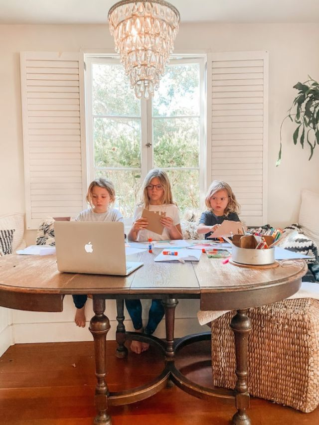 three girls at table with computer | best amazon homeschool supplies | #prime #favorites #school | Poplolly co