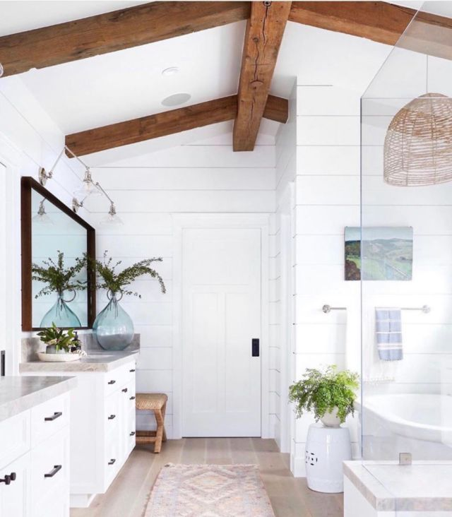 oak ceiling beams, bright white bathroom, rattan pendant light, coastal | Poplolly co