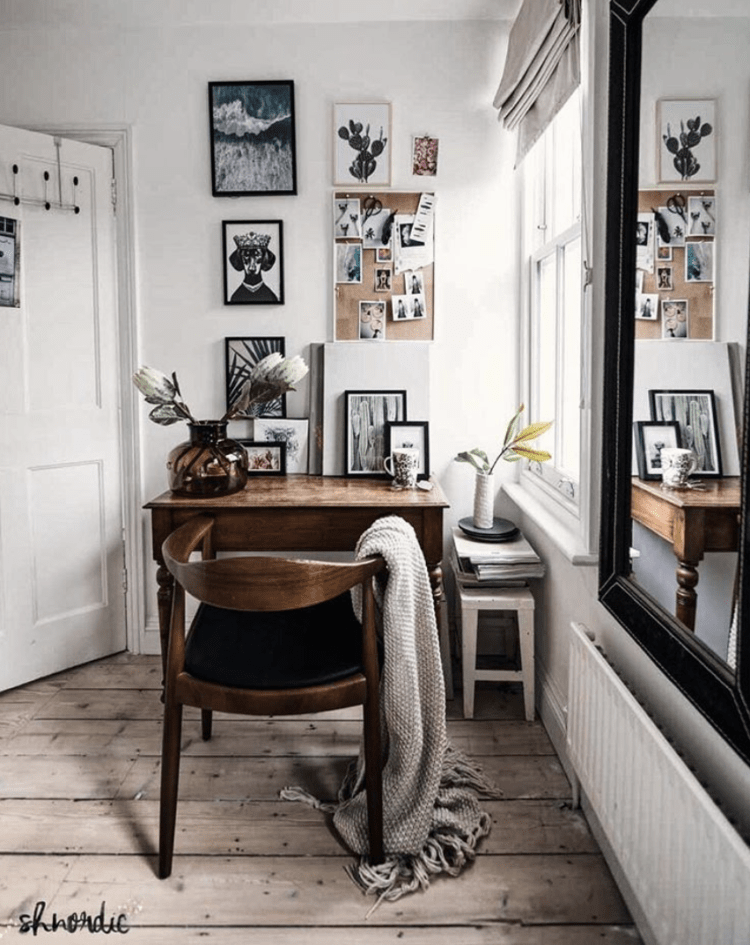 small antique wood desk in corner of bedroom | Poplolly co