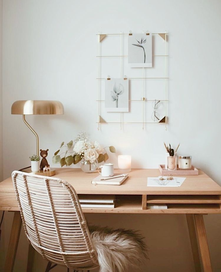 simple neutral natural home office with brass lamp and rattan chair   Poplolly co