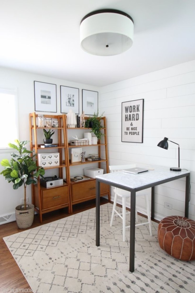 neutral moroccan rug, wood modern bookcase, office corner at home | Poplolly co