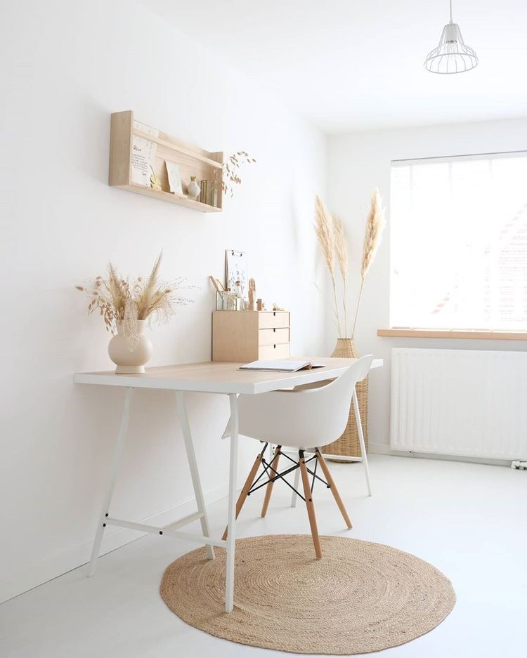clean and bright white boho office with pampas grass, jute circle rug and natural tones | simple and modern | Poplolly co