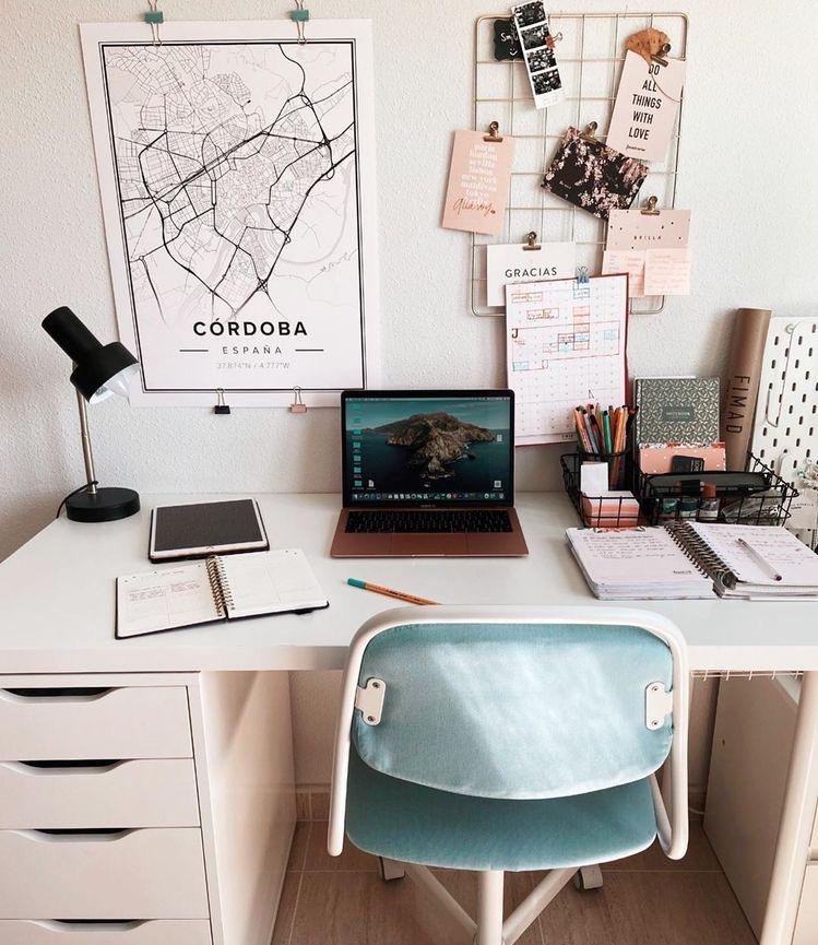 mapiful, gold wall grid, modern white desk   Poplolly co