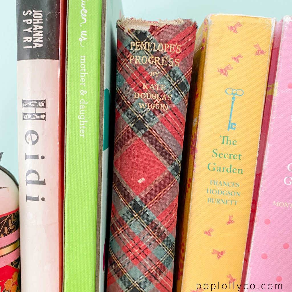 vintage books in a girls colorful boho bedroom   Poplolly co