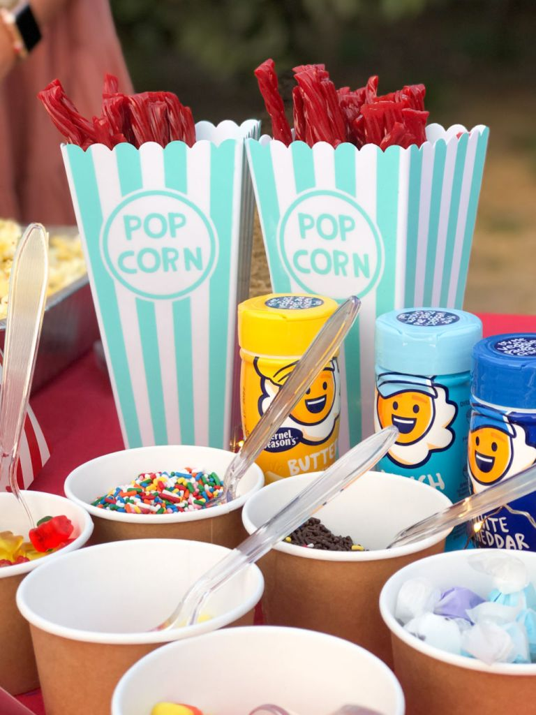 popcorn bar for a rustic drive in birthday | Poplolly co