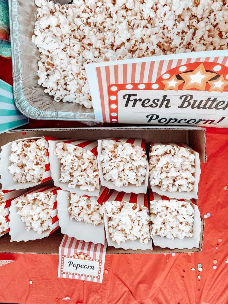 popcorn bar for a movie night birthday party | Poplolly co